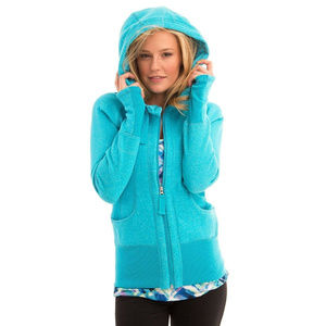 ACTIVE LIFE Heathered Full Zip Hooded Sweater
